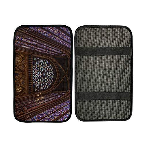Cojines de reposabrazos Rosetón en la catedral de Notre Dame Cojín del reposabrazos central Cubierta del reposabrazos central del coche 12,3 x 7,5 pulgadas Protector de la cubierta de la caja del asi