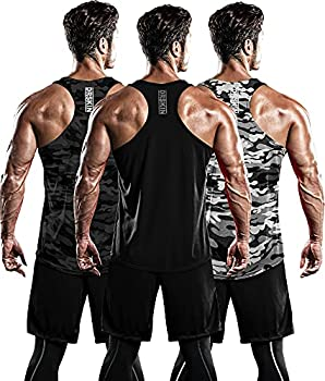 DRSKIN Men s 3 Pack Dry Fit Y-Back Muscle Tank Tops Mesh Sleeveless Gym Bodybuilding Training Athletic Workout Cool Shirts  BTF-ME-TA- B,MG,MB  L