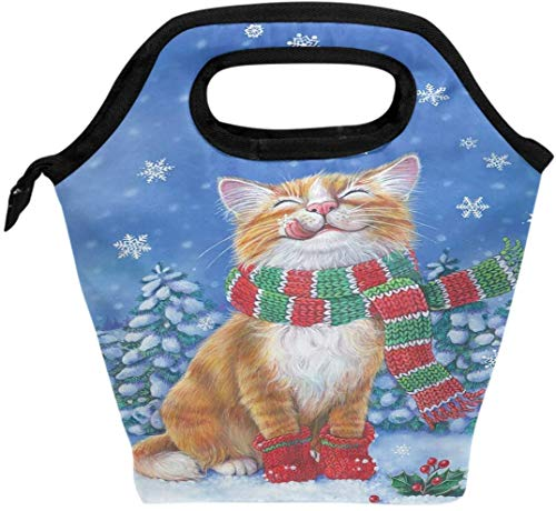 Bolsa de almuerzo para gatos, gatitos, divertidos copos de nieve, con aislamiento, enfriador térmico, reutilizable, para invierno, gato, Navidad, árbol de vacaciones, lonchera, bolso portátil para ho