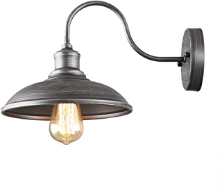 Giluta Industrial Wall Sconce Light of Rustic Vintage Wall Lighting Fixture with Metal Shade Indoor Antique Edison Silvery Style and Retro Look Wall lamp for Living Room Bedroom Bathroom Farmhouse