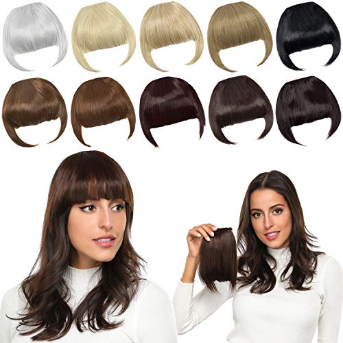 ROSEBUD Bangs Hair Clip in Bangs Hair Extensions Synthetic Flat Bang with Temples Front Face Fringe Bangs Hair Pieces for Women