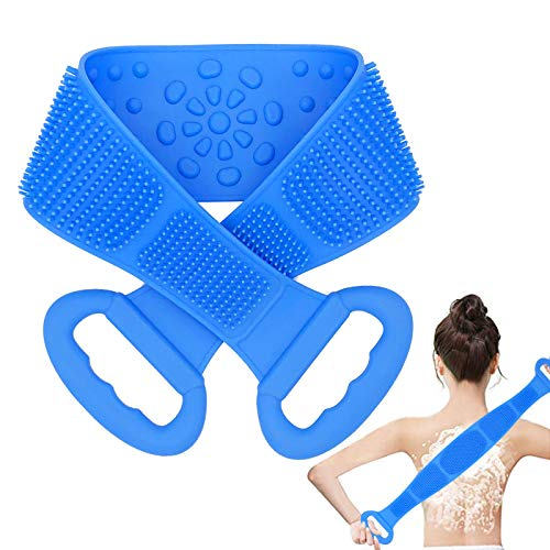 Silicone Back Scrubber for Shower, Exfoliating Silicone Bath Body Brush,Easy to Clean, Lathers Well, Eco Friendly,Comfortable Massage for Shower (Blue)