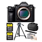Sony Alpha a9 Full Frame Mirrorless Camera Body Bundle with Camera Case, Tripod, 2X Sony 64GB SF-G64/T1 (300MB/s) UHS-II Cards, and Screen Protector Glass (6 Items)