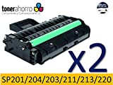 TonerAhorro PACK 2 UD SP201N / SP204SN / SP203S / SP211 / SP213 NEGRO CARTUCHO DE TONER GENERICO 407999 / 407254 PARA RICOH 2600 COPIAS 24 MESES DE GARANTIA