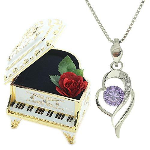 [デバリエ] y632-pw (ピアノホワイト) 誕生日プレゼント 女性 人気 彼女 古希 喜寿 祝い 8月 ネックレスレディース 可愛い アクセサリー シルバー925 エレガントモデル ダイヤモンドカット セット品(オルゴール1組 ネックレス1組)ラッピ