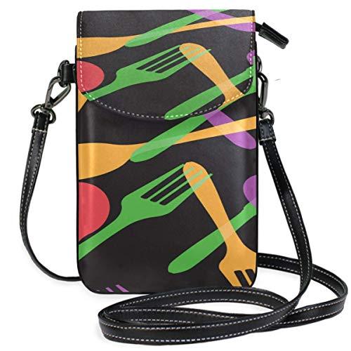 AEMAPE Leder Crossbody Geldbörse Telefon Messer und Gabel ESS-Tools Drucken Leder Crossbody Geldbörsen Telefon Tasche Tasche Geldbörse Brieftasche Reisepass Tasche Handtaschen für Frauen