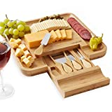 Casafield Organic Bamboo Cheese Cutting Board & Knife Gift Set - Wooden Serving Tray for Charcuterie Meat Platter, Fruit & Crackers - Slide Out Drawer with 4 Stainless Steel Knives