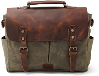 Leather Bag Mens Canvas Leather Notebook Messenger Bag Men's Shoulder Bag Travel Business Travel Leisure Bag High Capacity (Color : Green, Size : S)