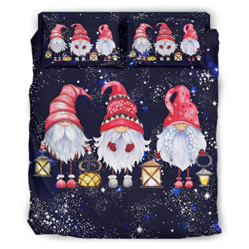 Christmas GNOME Red Four Piece Bed Cal King 4-Piece Bedding Set with Zip Includes Durable 1 Duvet Cover & 1 Duvet Cover & 2 Pillow Cases White 228 x 228 cm