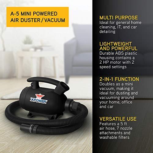 XPOWER A-5 Multi-Purpose Mini Powered Air Duster Vacuum - Black