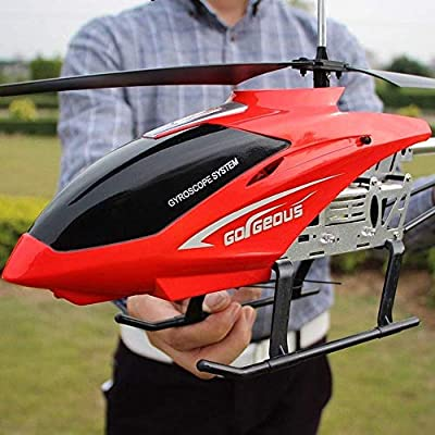 Ycco Large Outdoor Helicopter RC Drone Toy For Kids USB Charging 3.5 Channels RC Drone Helicopter Toys With Color LED Light Night Sky Flight Gifts For Teenagers Boys Girls Gift(Red)