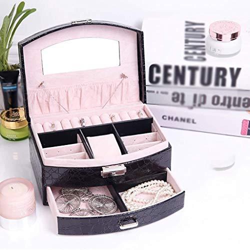 Decoratieve box Sieraden kast sieraden opbergdoos, 1 laden, afsluitbare sieraden doos met spiegel, handbagage, ring, armband, oorbellen, ketting, milieu grote juwelendoos Juwelendoos