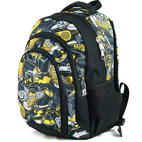 Mochila Escolar Mediana para niños y niñas, Hecha en la UE - Premium - yeepSport S114dx (Graffiti Yellow stylez)