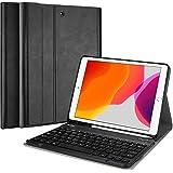 """ProCase iPad 10.2"""" キーボードケース 2020/2019 スリムシェル 軽量 スマートカバー ペンホルダー 磁気機能 取り外し可能なワイヤレスキーボード付き 対応端末: iPad 10.2"""" 第8世代 2020/第7世代 2019 - ブラック"""