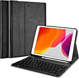 ProCase New iPad 7th Generation Case with Keyboard, iPad 10.2 2019 Keyboard Case with Pencil Holder,Lightweight Smart Cover with Magnetically Detachable Wireless Keyboard for iPad 7th 10.2' –Black