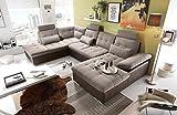 lifestyle4living Ecksofa, Sofaecke, Wohnlandschaft, Couch, U-Form, Couchgarnitur, Polsterecke, Sofacouch, Polstergarnitur, braun, beige, Webstoff, Kunstleder