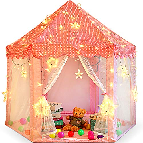 Princess Castle Play Tent for Little Girls with Large Star String Lights & Balls ,Kid's Hexagon Playhouse for Children Indoor and Outdoor Games 55