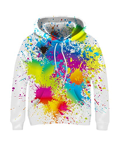 Kayolece Colorful Paint Sweatshirts for Boys Girls 3D Splatter Graphic Hoodies Hooded Pullover Clothes for Kids 5-14Y Size M