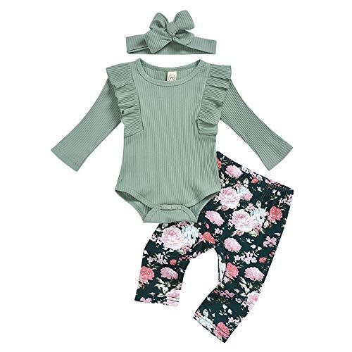 IMEKIS Conjunto de ropa para bebé con estampado de leopardo, de manga larga, con volantes, con pantalones impresos, diadema de algodón, para cumpleaños, casual, fiesta