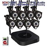Tonton Full HD Outdoor Funk Überwachungskamera Set mit 8 WLAN Wireless Überwachungskamera 20m Nachtsicht Bewegungserkennung mit Fernzugriff App H.265 Hausalarmanlagen mit Bewegungserkennung 2TB HDD