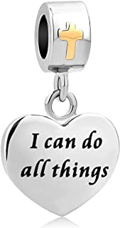 with God All Things are Possible Charm Dangle Bead for Bracelet