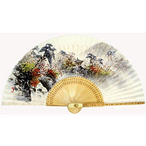 Antique Alive peinte à la main pliable Automne Scène Peinture coréen papier de mûrier Riz Blanc en bambou Art Handheld éventail décoratif