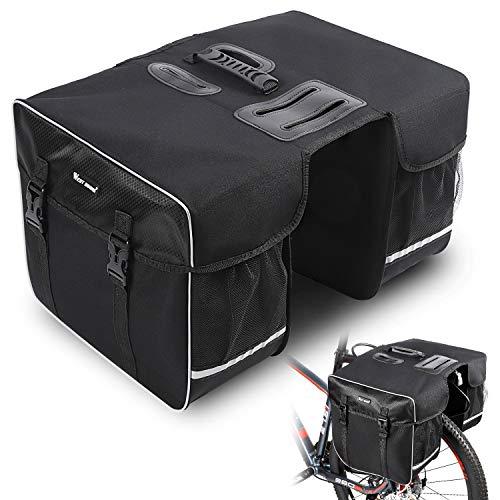 ICOCOPRO Alforja doble para bicicleta, bolsa para portaequipajes, bolsa para sillín, bolsillo...