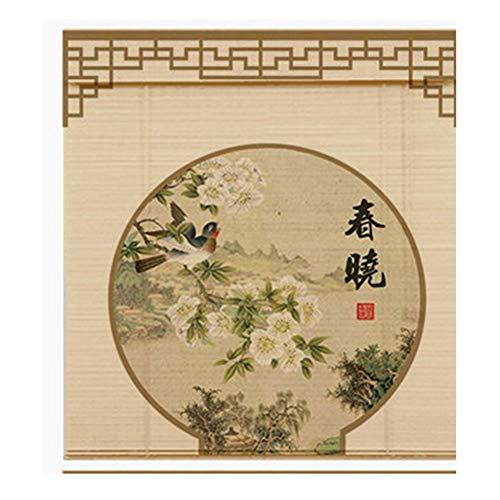 LIANGJUN bamboe gordijn rolgordijn rolgordijn Romeinse venster tinten afdrukken patroon retro halfschaduw strak weven ademende partitie glad, op maat maat
