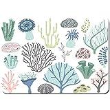 Antideslizante Alfombra De Baño,Acuario corales Algas Marinas océano Coral,Alfombra de Cocina Alfombra Mascota,Alfombras de Ducha 80x60cm