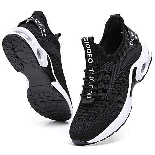Walking Sneakers for Women Stylish Athletic Tennis Casual Jogging Shoes Non Slip Comfort Breathable mesh Gym Workout Running Trainers Black Size 9