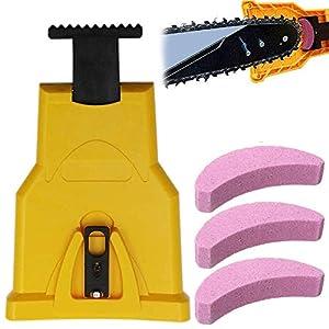 Tang Yuan - Afilador eléctrico de sierra con 3 piedras de afilar para trabajar madera, cortacésped, motosierra