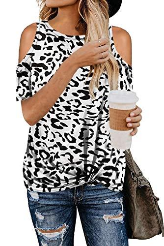 FANGJIN Damen Leopardenmuster Kurzarm Trendy Off Shoulder Pullover Lässig Hemden Baggy Tops Oberteile Weiß L