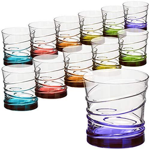 com-four® 12x Trinkgläser im stilvollen modernen Design, spülmaschinenfest (Design 2-12 Stück)