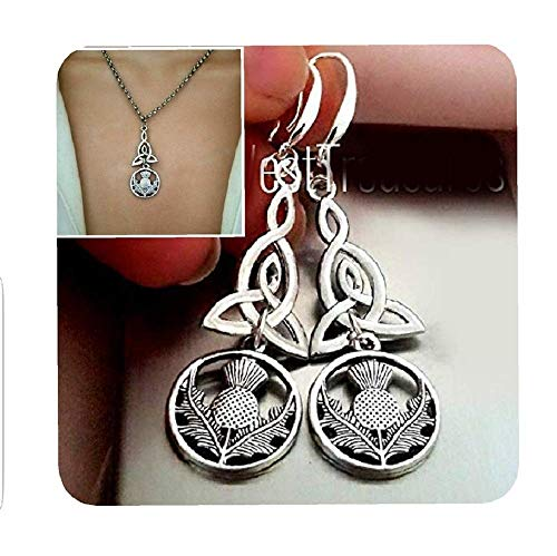 Celtic Scottish Thistle Earrings and Necklace, Triquetra Irish Love Eternity Knot - Scottish Irish Jewelry Gift for Women