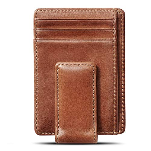 HOJ Co. CARRYALL Mens Leather Money Clip Wallet | Strong Magnetic Closure | Front Pocket Wallet | Exterior ID Window