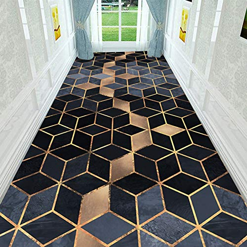 Kei Alfombra Antideslizante con Costuras Geométricas Sólidas Moderna Sala de Estar Dormitorio Baño Pasillo Alfombra Alfombra de Fibra de Poliéster,0.5x3M(1.64x9.84ft)