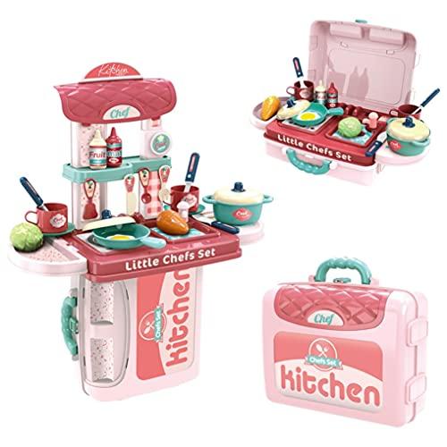 Little Kitchen Playset for Kids Pink Toddler Kitchen Pretend Play Toys Kitchen Accessories Set, Cabinets and Pans, Girls, Boys Suitcase Kitchen