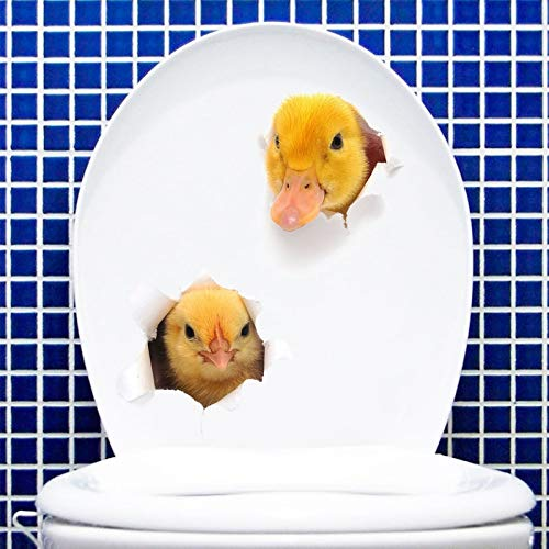 Little duck chick 3D wall sticker for Bathroom cupboard Home decoration Decals personality wallpaper animals toilet Stickers
