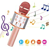 Bearbro Microphone Karaoke Sans Fil,bluetooth karaoké microphone,KTV Karaoké Enfants Adulte pour Chanter, Fête, Enregistrement, Compatible avec Android Smartphone PC (or rose)