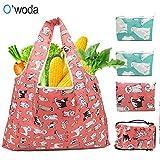 O'woda 4pcs Bolsa Compra Plegable Reutilizables,Lavable y Transpirable,Bolsas de Supermercado Ecológicas Adecuada para Fruta,Verduras y Juguete(rojo+azul)