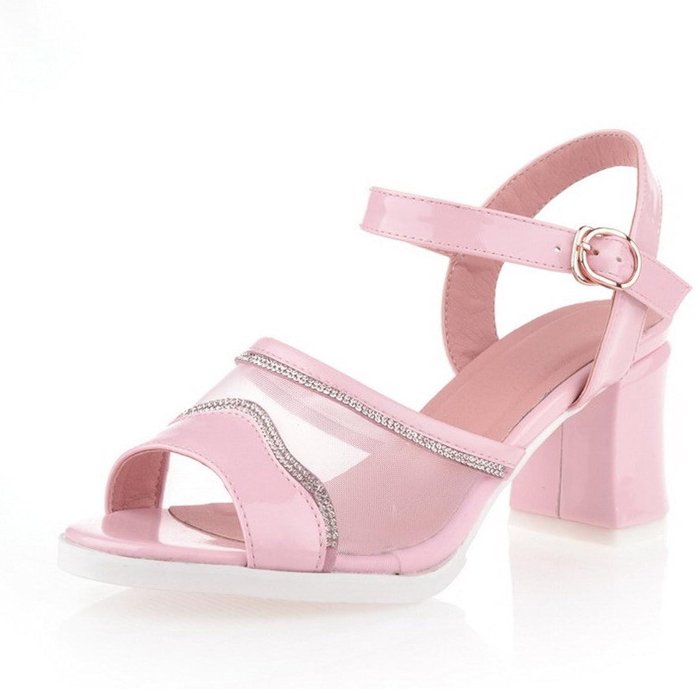 AmoonyFashion Women's Open Toe Kitten Heel PU Soft Material Solid Sandals, Pink, 7.5 B(M) US