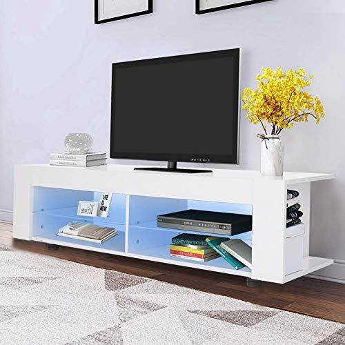 Hoogglans TV Eenheid 16 Kleuren LED TV Stand Kast Moderne TV Meubilair Media Eenheid Grote Opslagruimte met Glas Plank voor Woonkamer en Slaapkamer, Wit, 134 cm