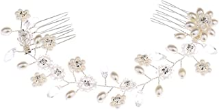 Frcolor Bride Combs Clips crystal pearl Hair Comb Wedding Headdress hair Accessories (Silver)