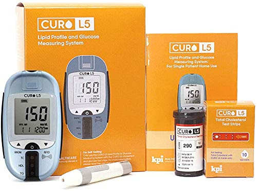 [O2 Lifecare] CURO L5 Cholesterol Test Kit - at Home Blood Testing Meter & 10 Total Strips Included