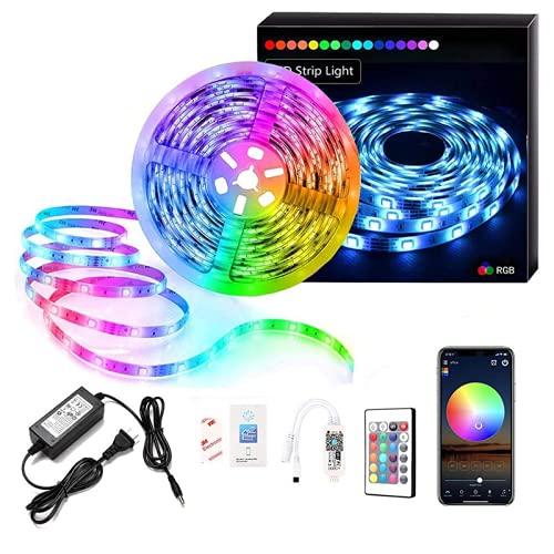 KUATAO Tira de luz LED inteligente 5050 RGB Multicolor LED tira de luz con 24 teclas de control remoto 15 m cinta LED para decoración del hogar, cocina, boda, fiesta