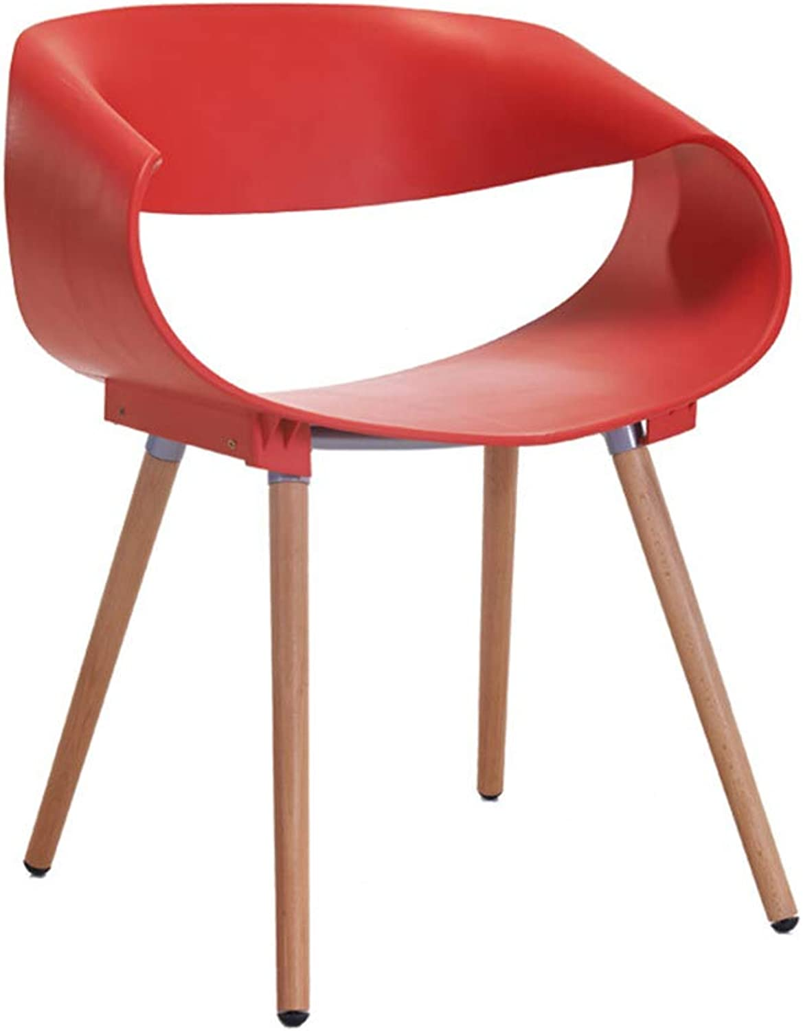 Chair - a Variety of colors Simple Solid Wood Plastic backrest armrest Dining Chair Leisure Chair (color   RED, Size   46  47  75cm)