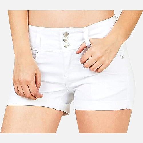 LMSHMDK Short Femme Blanc Taille Haute Denim Plus La Taille 3XL Jeans Bouton Zips De Poche Shorts Femme Printemps Eté De La Mode Femmes Vêtements