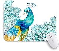 ECOMAOMI 可愛いマウスパッド 孔雀の花柄 滑り止めゴムバッキングマウスパッドノートブックコンピュータマウスマット