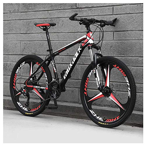 Sport all'Aria Aperta 26'Mountain Bike Pieghevole da 30' a Sospensione Anteriore Bicicletta da Uomo o Donna MTB Telaio in Acciaio ad Alto tenore di Carbonio con Doppio Freno a Olio, Rosso