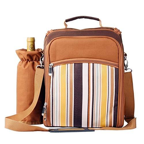 Picknickkorb, tragbare Camping-Picknick-Tasche mit Besteck, Kühltasche, Picknick-Set für 2 Reiserucksack, Kühltasche, Eisbeutel, Picknickkorb, Rucksack (Farbe: Khaki, Spezifikationen: Sonstige)